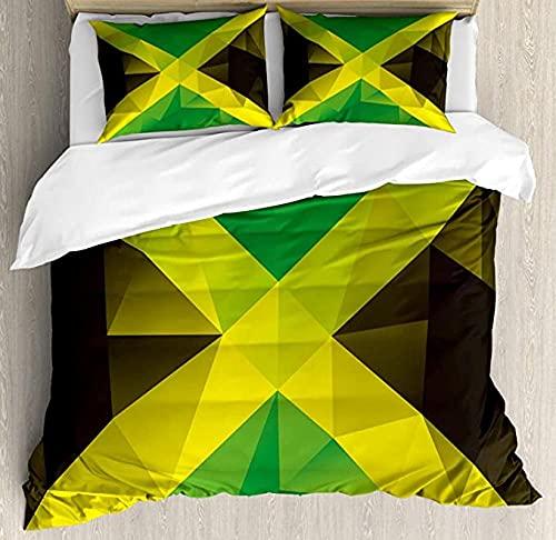 HSBZLH Funda De Edredón Negro Juego Funda Nórdica Jamaicana Diseño Polígono Triangular Bandera...