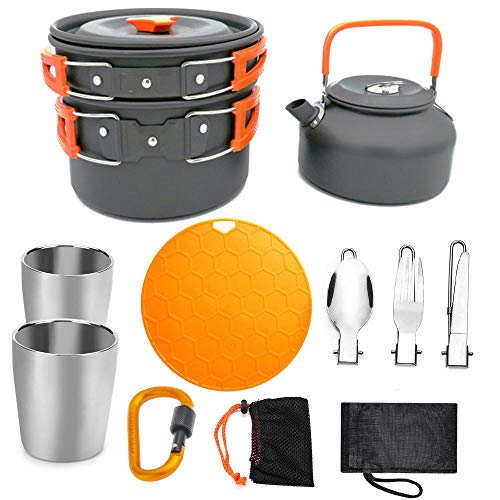 YSCYLY Outdoor Aluminium Koken Set,Pot Set 2-3 Mensen Theepot Met Beker, Snijplank, Picnic Camping Party Outdoor Essentials