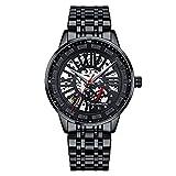 GUANQIN Esqueleto automático mecánico hombres reloj de pulsera negocios acero inoxidable zafiro cristal impermeable reloj automático cronógrafo luminoso, Gj16201 Negro, M, 40mm,