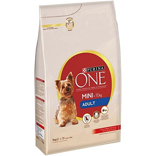 Purina ONE Mini Pienso para Perro Adulto Buey y Arroz 4 x 3 Kg 🔥