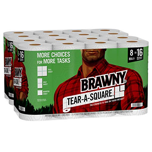 Brawny TearASquare Paper Towels Quarter Size Sheets 16 Count of 128 Sheets Per Roll