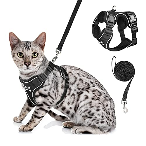 WINSEE Cat Harness and Leash Set Escape Proof Safe Cat Vest Harness for Walking Outdoor Reflective Adjustable Soft Mesh…