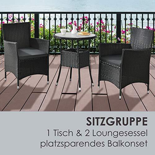 ArtLife Polyrattan Balkon Set Bayamo 2 Personen – Tisch mit Glasplatte & 2 Stühlen – Wetterfeste Balkonmöbel – Auflagen waschbar – schwarz - grau - 6