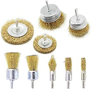 9Pcs Brass Coated Wire Brush Wheel & Cup Brush Set with 1/4-Inch Shank,Coated Wire Drill Brush Set Perfect for Removal of ...