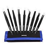 Precision Tweezers Set, XOOL 9 PCS ESD Tweezers Set, Anti-Static Stainless Steel Tweezers ...