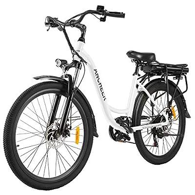 """ANCHEER 26"""" Elektrofahrrad, Stadt E-Bike Cruiser mit Abnehmbarer 12,5Ah-Akku im Heckrahmen 30 Meilen Reichweite Doppelscheibenbremsen (Stadtfahrrad-Weiß)"""