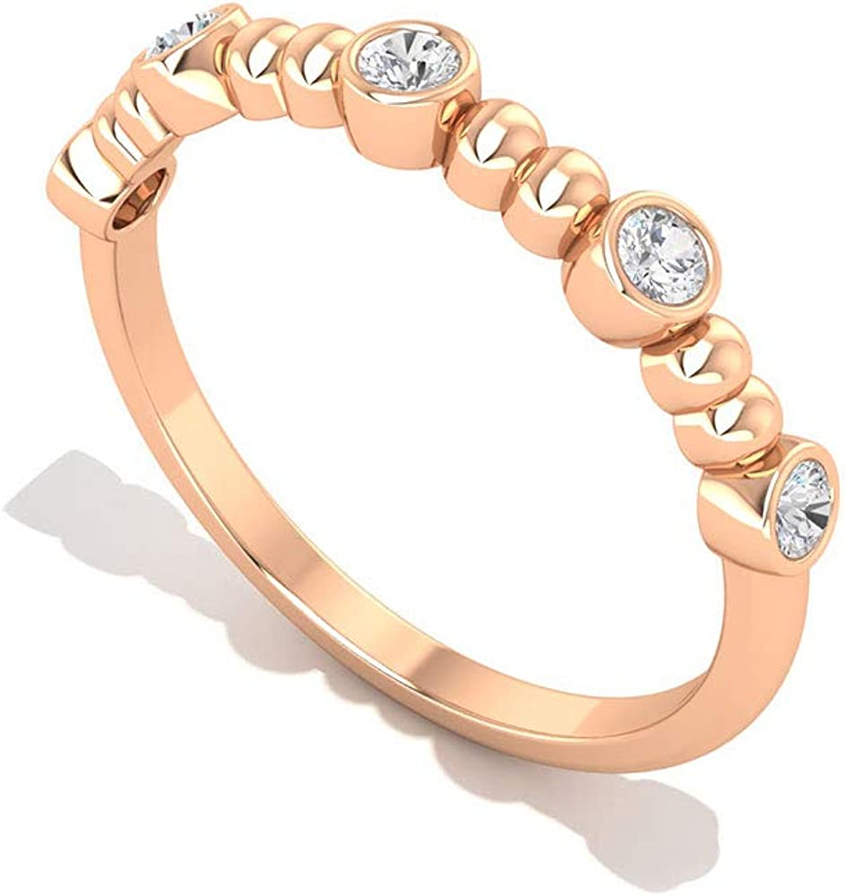 0.15 CT Bezel Set IGI Certified Diamond Anniversary Ring, Gold Beaded Bridal Wedding Promise Matching Rings, Personalized Simple Engagement Ring Gifts