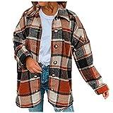 L9WEI Abrigo de invierno para mujer, vintage, a cuadros, elegante, cálido, de invierno, grande, clásico, con solapa, corto, con botones, naranja, XL