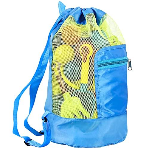 Bolsa Juguetes Playa, Plegable Bolsa de Playa de Malla con Cordón para Niños Juguetes de Almacenamiento (Azul)