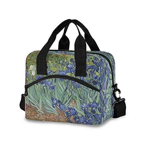BOLOL Iris Flower Reusable Insulated Lunch Bag Lunch Tote Bag for Women Men, Van Gogh Cooler Bag Lunch Box Container with Adjustable Shoulder Strap for Picnic School Work Office