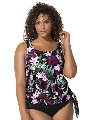 Swimsuits For All Women's Plus Size Side Tie Blouson Tankini Top 28 Wine Pink Flower