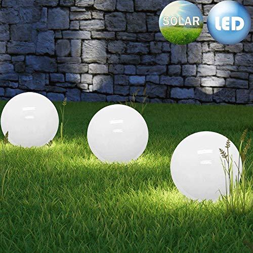 Bakaji Lampada Forma Palla Sfera Diametro 20cm ad Energia Solare Luce LED Bianco Esterno Giardino H.55cm Doppio Utilizzo con o senza Palo Paletto Solare Luce Atmosfera