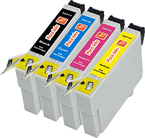 Pisco Inks – Cartucho de Tinta refabricado para Usar en Lugar de Epson T0715, Stylus D78 DX4000 DX4400 DX5000 DX6000 DX6050 DX7400 BX300F SX100 SX200 SX215 SX218 SX405 SX415 SX515W SX600FW, Pack de 4