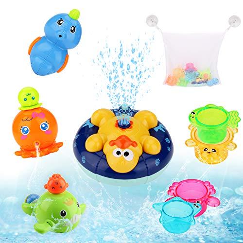 BBLIKE Badespielzeug, Kinder Schwimmende Badewannenspielzeug Wasserspielzeug Rotierendes Induktions Sprinkler Ente, Babyspiel Wasserbad Spielzeug für Baby Kleinkinder Kinder Party