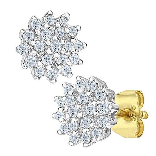 Naava Pendientes para Mujer de Oro Amarillo 9K con 38 Diamantes