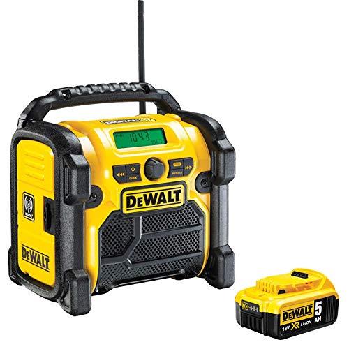 DeWALT DCR020 240V DAB FM Jobsite Digital Radio with 1 x 5.0Ah DCB184 Battery