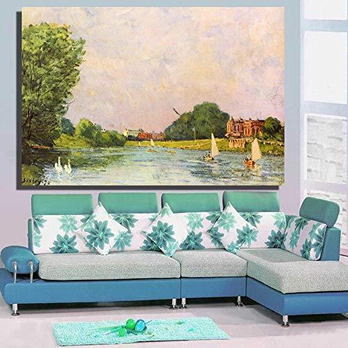 Frameloze wanddecoratie met canvas schilderijen op de muur van de woonkamer van moderne en stijlvolle Thames River 12X18