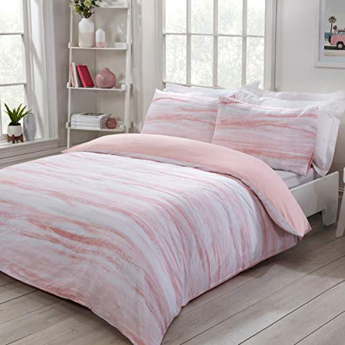 Sleepdown Nordic Sea Waves AbstractStripes Pink Plain Reverse Easy Care Duvet Cover Quilt Bedding Set with Pillowcases - King (220cm x 230cm)