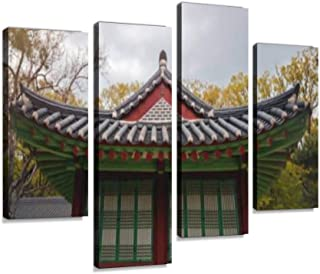 Seoul, South Korea, a Traditional Korean Pagoda in The Park Canvas Wall Art Hanging Paintings Modern Artwork Abstract Picture Prints Home Decoration Gift Unique Designed Framed 4 Panel
