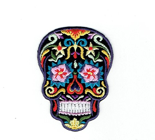 Black Sugar Skull - Pink Flower Eyes- Day of The Dead - Dia De Los Muertos - Iron on Embroidered Patch