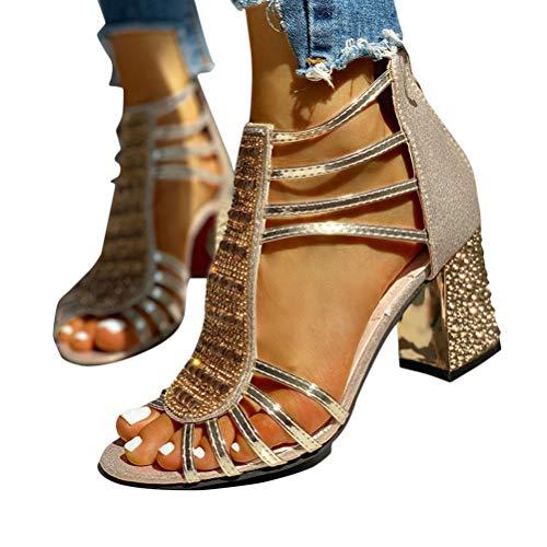 Minetom Damen Sandalen Pumps Blockabsatz High Heels Sommerschuhe Reißverschluss Sandals Party Freizeit Hochzeit Hochhackige Abendschuhe A Gold 38 EU