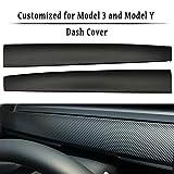 LMZX Tesla Model 3 Model Y Dashboard Cover Wrap ABS Matte Carbon Fiber Pattern Dash Cover Wrap Cap for Tesla Model 3 2017-2020 Model Y Accessories