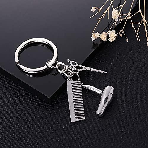 xingguang Llavero personalizado con diseño de personalidad, para secador de pelo, tijeras, llavero, llavero, herramienta de peluquería, tijera, regalo creativo (color plateado)