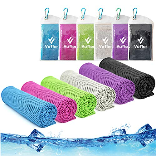 """Cooling Towel,Vofler 6 Pack Cool Towels Microfiber Chilly Ice Cold Head Band Bandana Neck Wrap (40""""x 12"""") for Athletes Men Women Youth Kids Dogs Yoga Outdoor Golf Running Hiking Sports Camping Travel"""