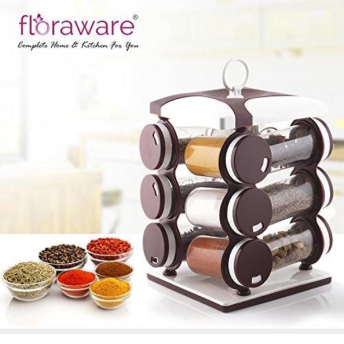 Floraware 12-Jar Revolving Spice Rack, Masala Box, Spice Box, Masala Rack, Trolley Rack (Dark Brown)
