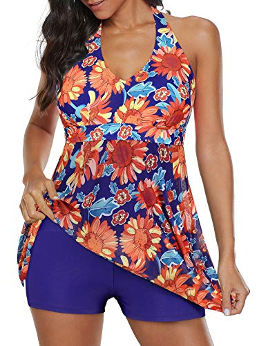 Century Star One Piece Swimsuits for Women V Neck Swimwear Halter Swim Dress Tummy Control Bathing Suits Skirt Orange Sunflower 18-20
