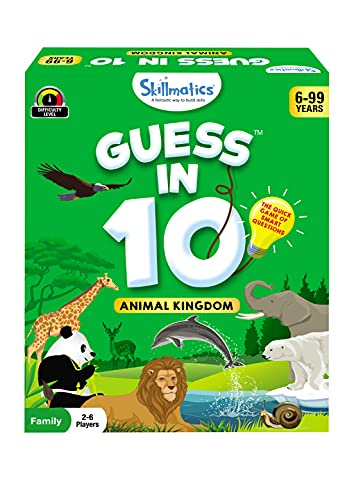 Skillmatics Card Game : Guess in 10 Animal Kingdom   Gifts for Ages 6 and Up   Super Fun for Travel & Family Game Night