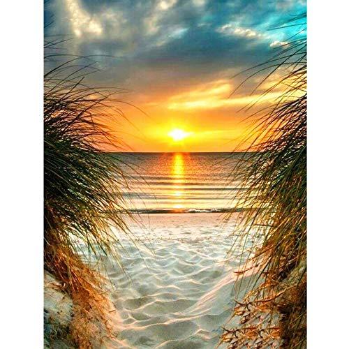 5D DIY diamante pintura puesta de sol junto al mar bordado de diamantes paisaje mosaico imagen conjunto de punto de cruz decoración del hogar Gifta A4 40x50cm