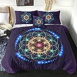 Sleepwish Flower of Life Comforter Set Full, Sacred Geometry Chakra Colored Reversible Down Alternative Comforter 4 Pcs Quilted Bedding Duvet Sets (1 Comforter + 2 Pillow Shams + 1 Cushion Cover)
