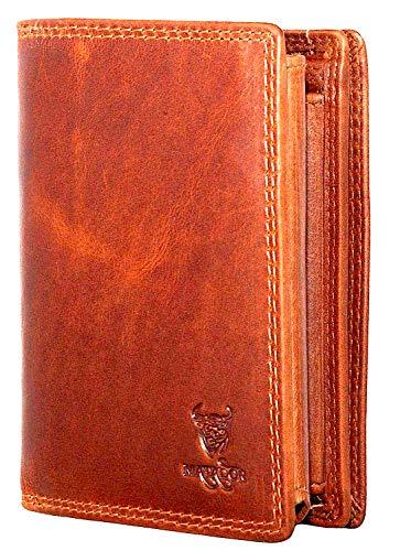 MATADOR Herren Leder Portemonnaie Geldbörse TÜV geprüfter RFID & NFC Schutz Antik Vintage Braun