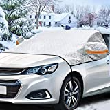 Hamnor Windshield Cover for Ice and Snow Winter Snowrproof Summer Auto Sun Shade All Weather Fits Most Cars Trucks Vans and SUV Stop Scraping with a Brush or Shovel(Silver)