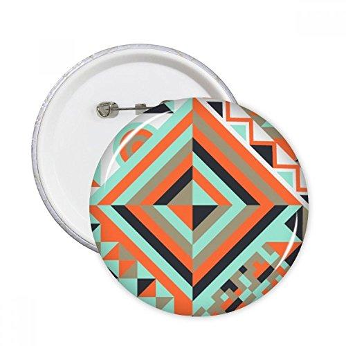 Groen Rood Zwart Ronde Ruit Abstract Geometrische Nordic Illustratie Patroon Ronde Pinnen Badge Knop Kleding Decoratie Gift 5 stks M