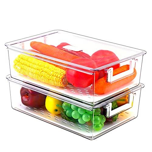 REFSAVER Contenedores de almacenamiento de alimentos para refrigerador, 2 unidades, organizador de nevera con tapa y bandeja de...