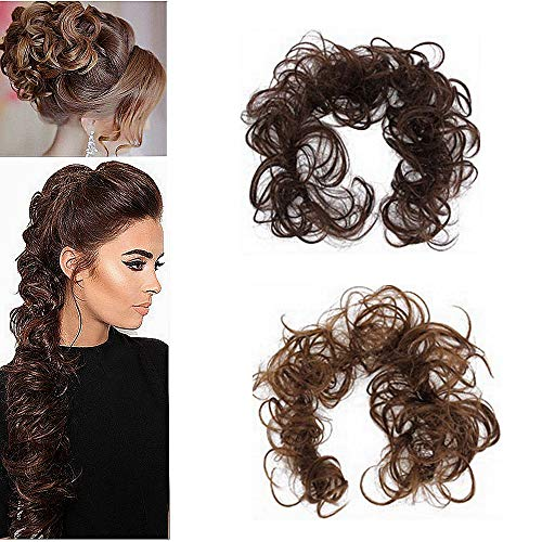 CLOTHOBEAUTY 2 Pcs Messy Hair Bun Extensions Wavy Curly Hair Donut Chignon Fake Ponytail, Synthetic Hair Rope Elastic Band Updo (Dark Brown-Brown)