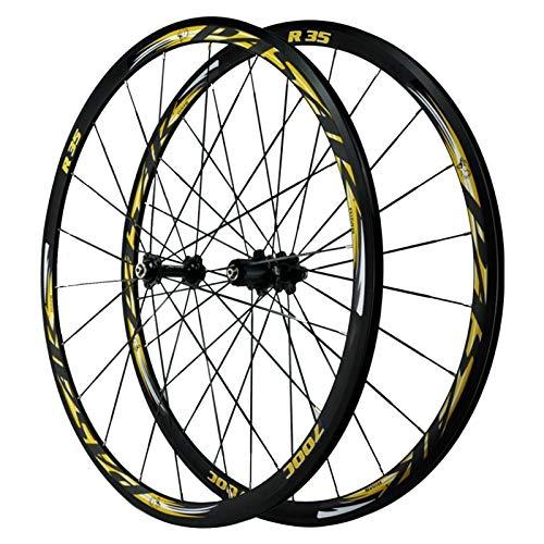 ZNND Ruedas De Bicicleta 700C,Pared Doble 4 Cojinetes Liberación Rápida Freno C Freno V Altura del Círculo 30 MM Juego De Ruedas De Bicicleta De Carretera (Color : Yellow)
