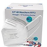 Gisinti- Kit 40 Mascherine FFP2 CE FirstDoc Maschere FFP2 Certificate con 10 Tendi Mascherina Pluribol Sottilissimi , FFP2 Col. Bianco Confezione da 40 Pezzi