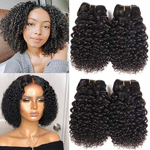 Peenoll Brazilian Bundles with Closure Brazilian Human Hair 10A 100% Unprocessed Virgin Brazilian Curly and Straight Sew in hair extensions Natural Color (10 10 10 10, Kinkly Curly)