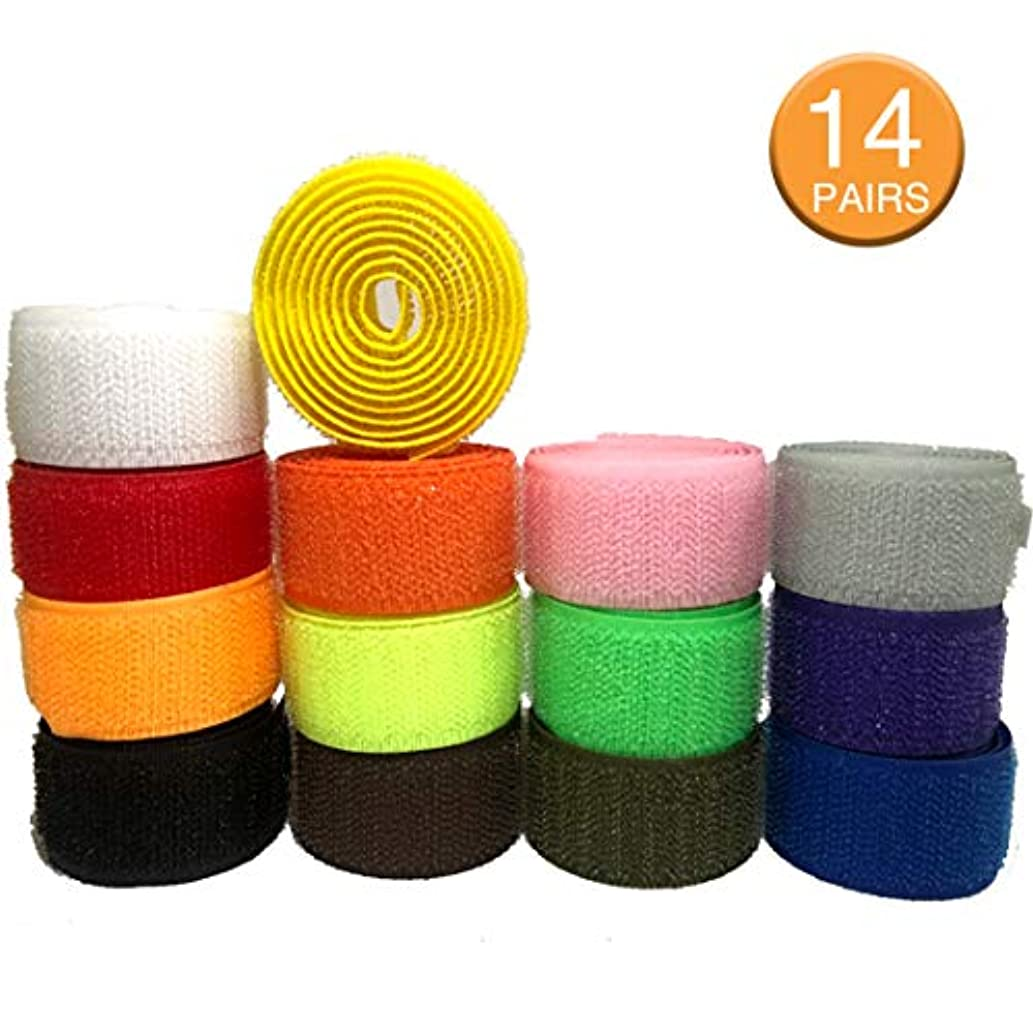 Sew Loop Hook Fastener Nylon Tape - The Yard with Non-Adhesive for DIY Craft Supplies 1 inch Wide, Pack of 13 FREE1 Colors 2 Yards of Each Color 1 Yard Hook + 1 Yard Loop LIVCOLLECTION
