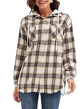 Women Fashion Long Sleeve Hoodie Shirts Plaid Raw Trim Hems Coat White XXL