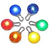 Proster Kit 6pz Luce LED Clip-On Impermeabile per Collare Cane con 1pz Guinzaglio LED Ricaricabile in Nylon 120CM con 3 Modo Lampeggiante per Cane Gatto Passeggio Notte e 7pz Batterie da Sostituzione