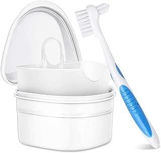 Y-Kelin Denture&Retainer Cleanning Set Denture Bath Box And Denture Brush (white)
