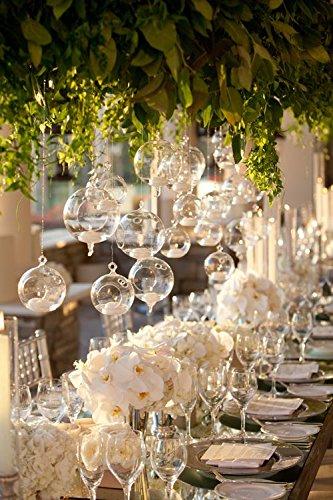 Newdreamworld de Lot de 75/100 x 8 cm Sphère de fond plat en verre Plante Terrariums Globe à suspendre sans flamme photophores pour mariage Table pack of 75 claire
