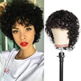 Pixie Cut Wigs For Black Women Short Wigs BoB Human Hair Wigs Water Wave None Lace Front Wigs Human Hair Curly Wigs With Bangs 6 Inch