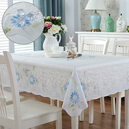 QIGE Manteles Rectangular Mantel Mantel Impermeable Mantel De Plástico Mesa De Centro Mesa De Centro Mantel De Mesa 130 * 180 Cm Madrid - Flores Azules