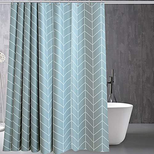 ufengke Duschvorhang Blau Chevron mit 12 Haken Geometrisch Duschvorhang aus PEVA Wasserdicht Anti Schimmel für Badezimmer 180x180cm