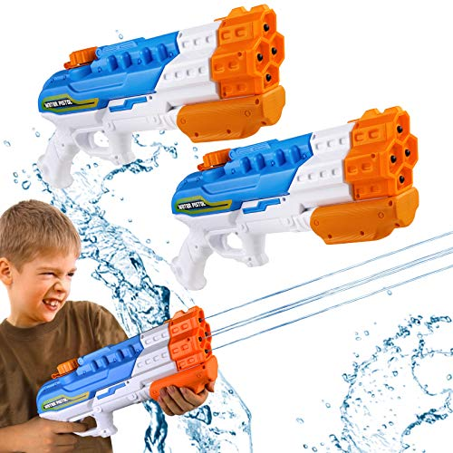 Bukm Water Guns for Kids, 2 Pack Super Squirt Guns Water Soaker Blaster 1150CC 4 Nozzles Toys Gifts for Boys Girls Children Adult Outdoor Swimming Pool Beach Sand Children s Day (2 Pack Water Guns)